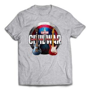 Avengers Civil War Custom Guitar T-Shirt -Heather Grey