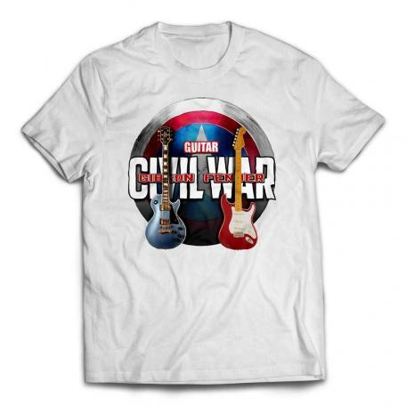 Avengers Civil War Custom Guitar T-Shirt - White