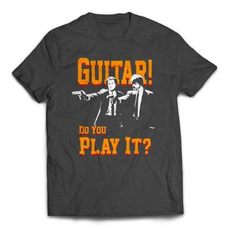 Guitar! Do You Play It! Duo Pulp Fiction T-Shirt - Heather Dark Grey