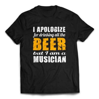 I Apologize for Drinking All the Beer Musicians T-shirt - Black