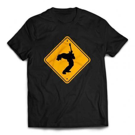 Guitar Player Caution Sign Guitar T-Shirt - Black