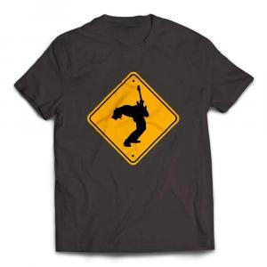 Guitar Player Caution Sign Guitar T-Shirt - Smoke