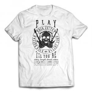 Play Guitar 'Til You're DEAD T-shirt dark - White
