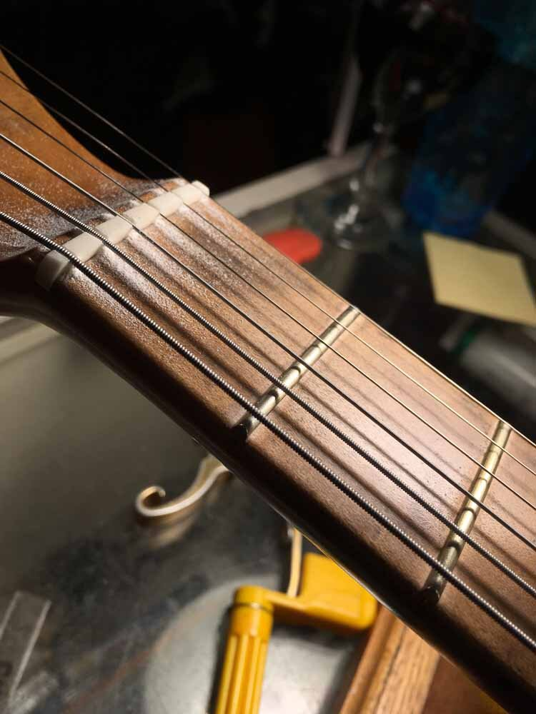 New Guitar Nut - string slots cut to depth