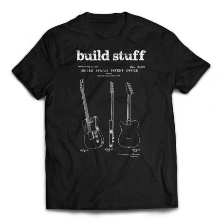 Build Stuff Fender Guitar Patent T-shirt - Black
