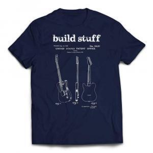 Build Stuff Fender Guitar Patent T-shirt - Navy