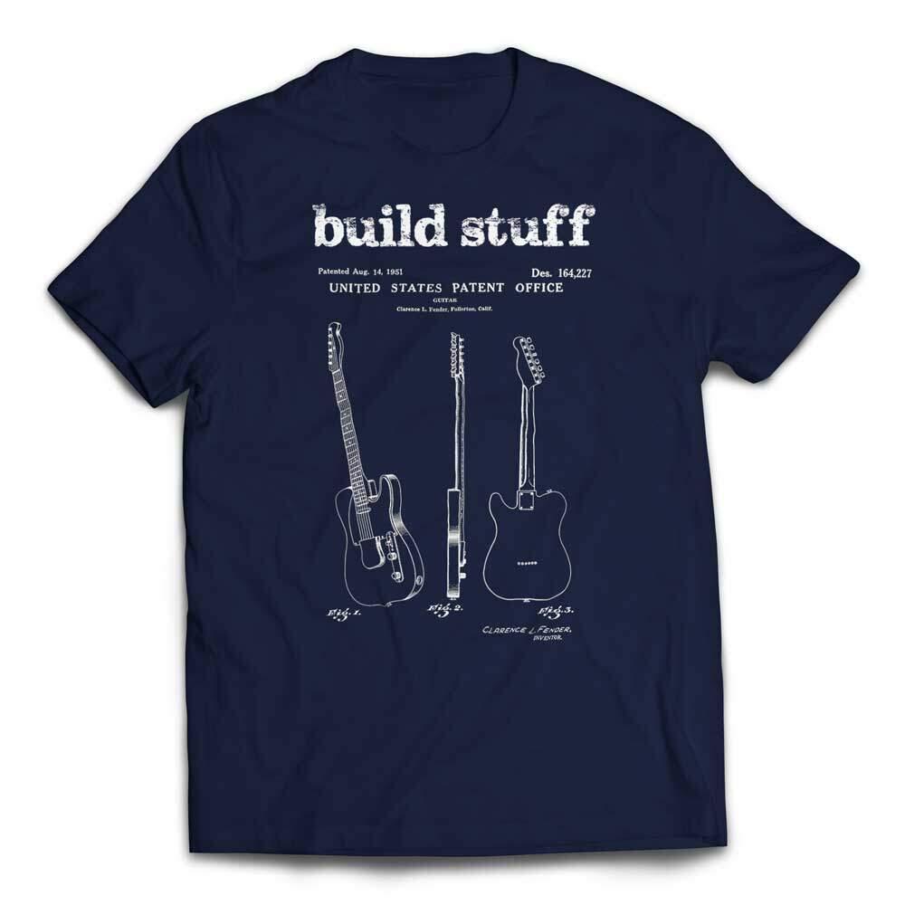Build Stuff Fender Guitar Patent T-shirt - Navy