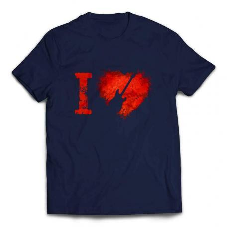 I Love Stratocaster Guitars T-shirt – Navy
