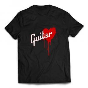 Awesome Gibson Style Bleeding Heart Guitar T-shirt - Black