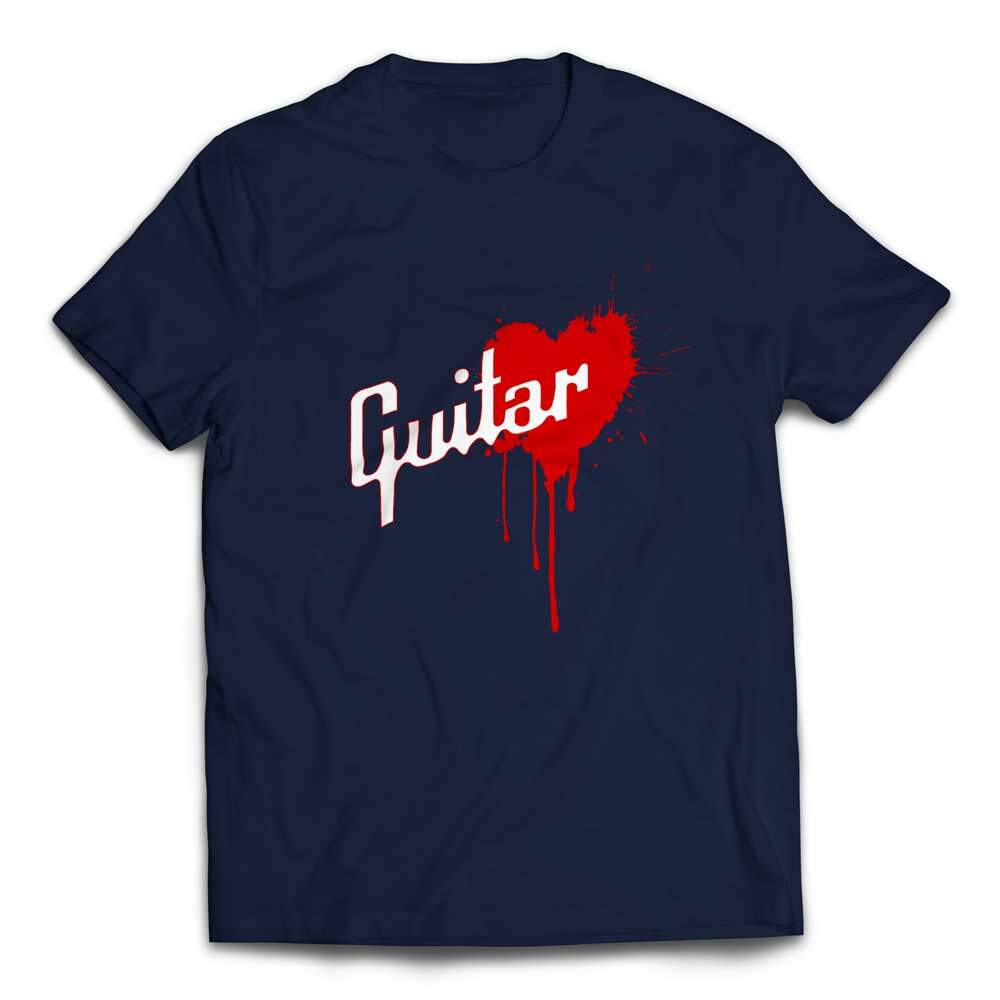 Awesome Gibson Style Bleeding Heart Guitar T-shirt - Navy