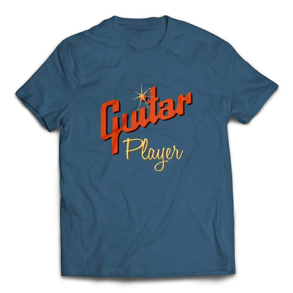 Cool Gibson Style Guitar Player T-shirt - Steel Blue