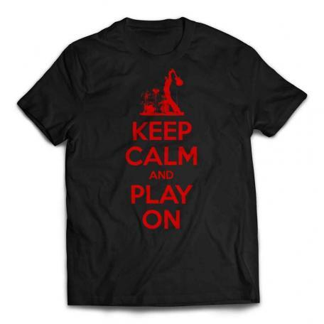 Custom Keep Calm And Play On Guitar T-shirt red text - Black