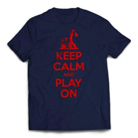 Custom Keep Calm And Play On Guitar T-shirt red text - Navy