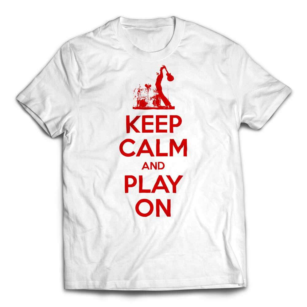 Custom Keep Calm And Play On Guitar T-shirt red text - White