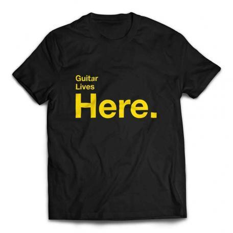 Guitar Lives Here Designer T-shirt - Black