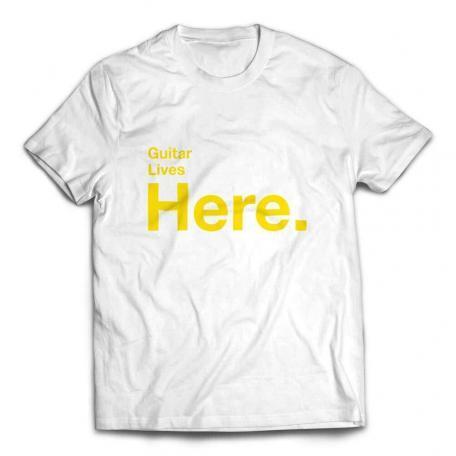 Guitar Lives Here Designer T-shirt – White