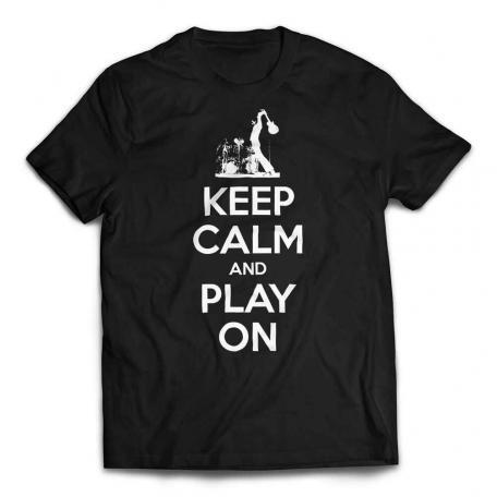 Keep Calm And Play On Guitar T-shirt-white text - Black