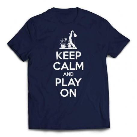 Keep Calm And Play On Guitar T-shirt-white text - Navy