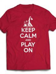 Keep Calm And Play On Guitar T-shirt – white text