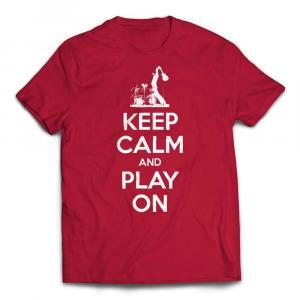 Keep Calm And Play On Guitar T-shirt-white text - Red