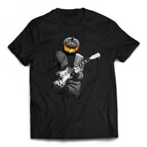 Wicked Halloween Pumpkin Head Playing Guitar T-shirt - Black