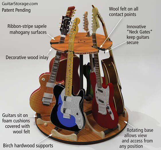 GuitarStorage.com Deluxe Wood Rotating Guitar Stand