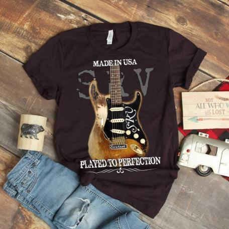 Classic 1954 Fender Stratocaster Guitar T-Shirt - oxblood black