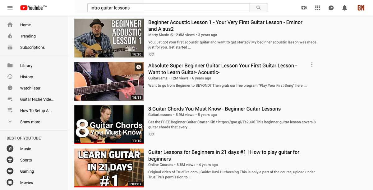 Youtube Guitar Lessons