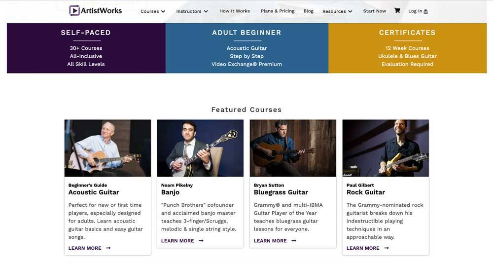 ArtistWorks Guitar lessons Review - Home