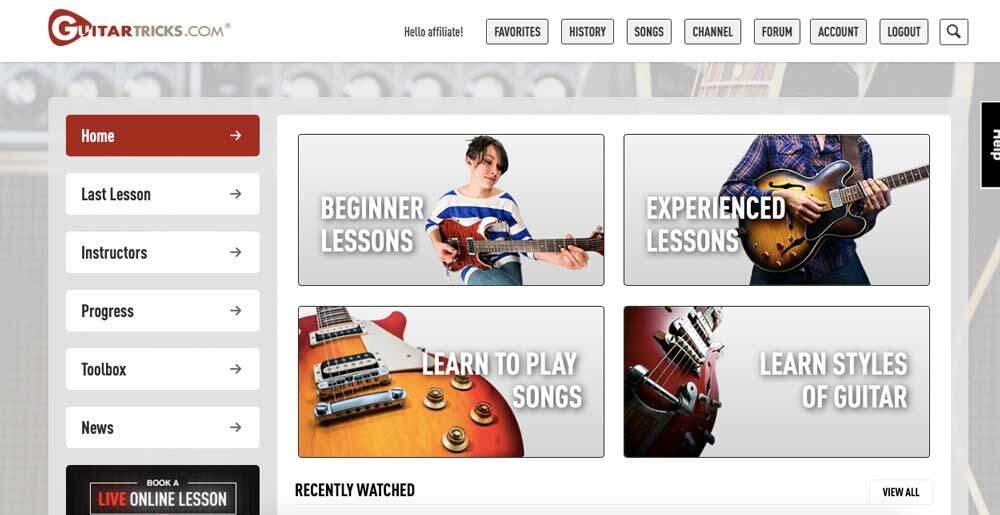 Guitar Tricks Review - Homepage