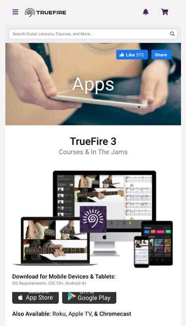 TrueFire Lessons - Apps Mobile Header