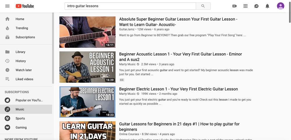 How to Learn Guitar at Home-Youtube-search