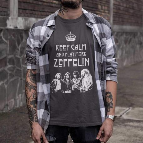 Keep Calm and Play More Zeppelin Unisex T-Shirt-3