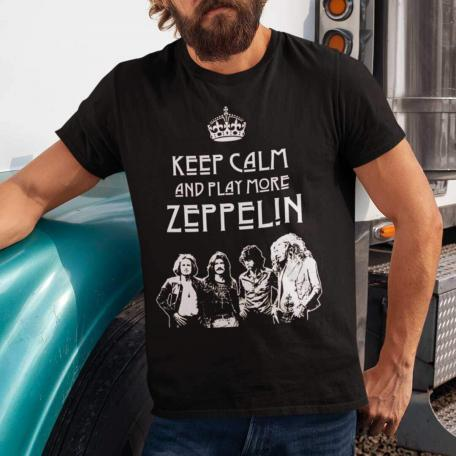 Keep Calm and Play More Zeppelin Unisex T-Shirt-black