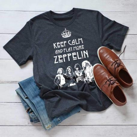 Keep Calm and Play More Zeppelin Unisex T-Shirt-dark heather