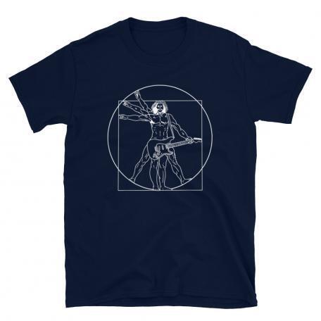 Vitruvian Man guitar T-shirt-navy