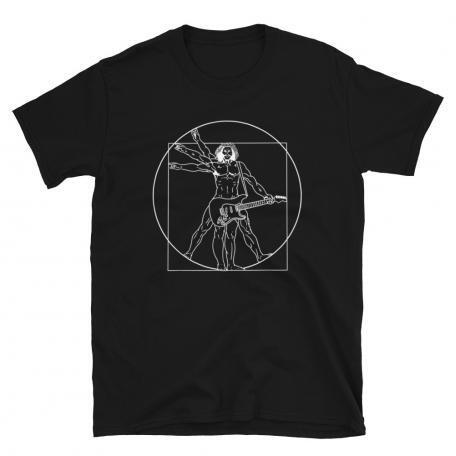 Vitruvian Man guitar T-shirt-black