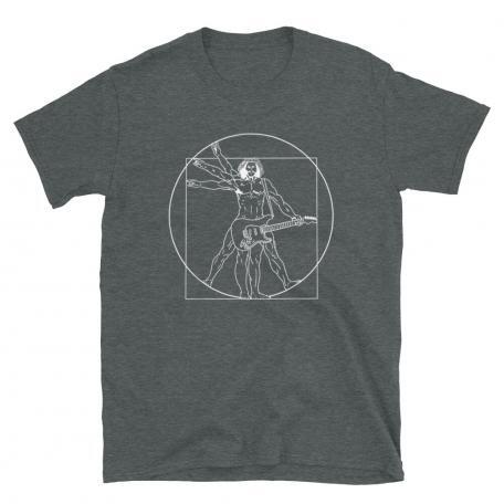 Vitruvian Man guitar T-shirt-dark grey