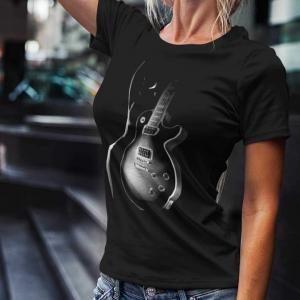 Black Les Paul Guitar and Silhouette
