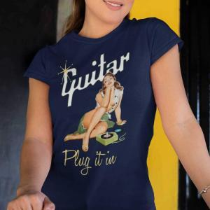 Cool Retro Gibson-Style Pinup Girl Guitar T-shirt