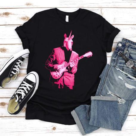 Pink Unicorn Guitar Player Unisex Tee - black