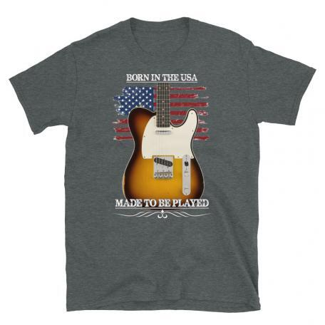 Born In The USA, Made To Be Played Telecaster Guitar T-shirt-dark heather