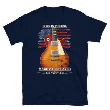 Born In The USA, Made To Be Played Les Paul Guitar T-shirt-navy