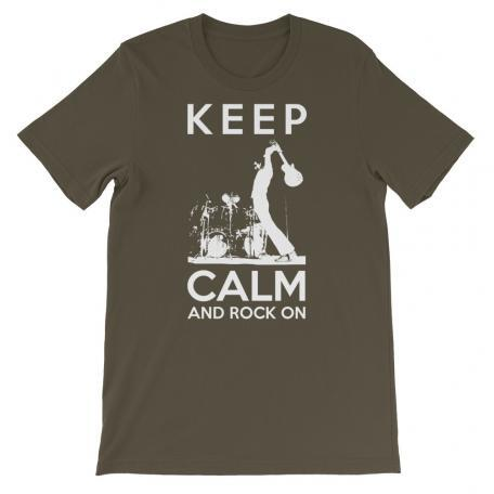 Keep Calm And Rock On Guitar Shirt-army