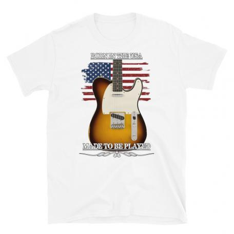 Born In The USA, Made To Be Played Telecaster Guitar T-shirt-white