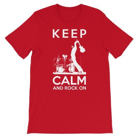 Keep Calm And Rock On Guitar Shirt-red