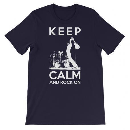 Keep Calm And Rock On Guitar Shirt-navy