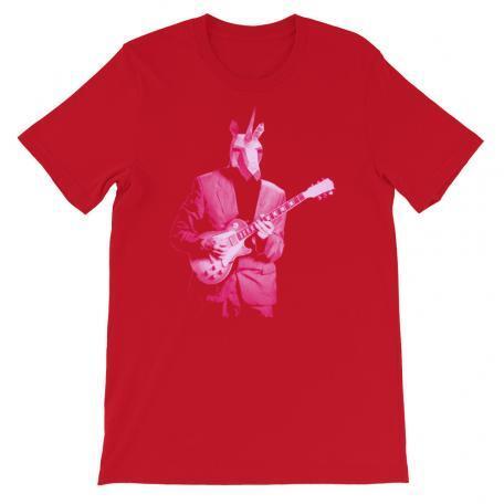 Pink Unicorn Guitar Player Unisex Tee-red