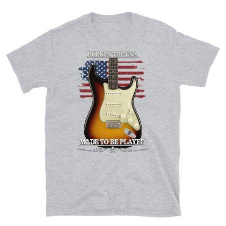 Born In The USA, Made To Be Played Stratocaster Guitar T-shirt-sport grey