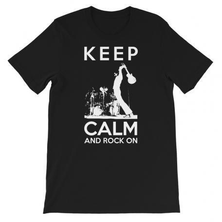Keep Calm And Rock On Guitar Shirt-black